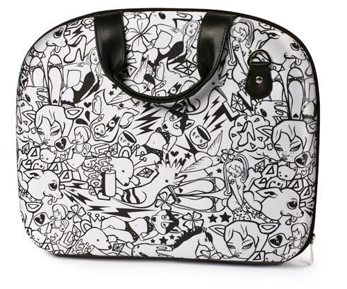 Черно-белая сумка для бумаг или чехол для ноутбука (до 13 дюймов).